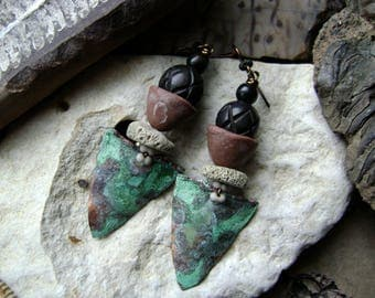 natural coral earrings with artisan ceramic and carved wood beads with verdigris patinated shields, assemblage earrings, Anvil Artifacts