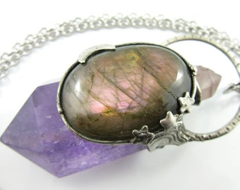 pink moon - lithium quartz, purple labradorite & amethyst crystal pendant