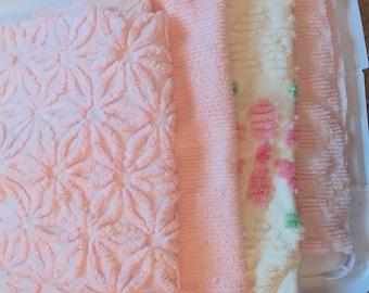 Vintage Chenille Bedspread Four Fat Quarters Quilt Kit Hoffman Daisy