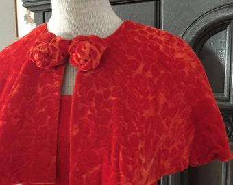 Tangerine 2pc Textured Floral Velvet Dress