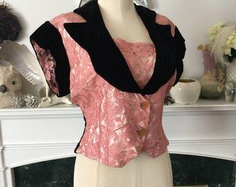 50s Pink Lace Blk Velvet Dinner Blouse