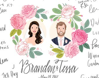 Custom Illustrated Wedding Guest Book Portrait Alternative - Digital File or 11x17 print