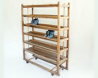 Antique Shoe Factory Rack - Display Rack - Vintage Wood Factory Rack - Shoe Storage - Vintage Wood Shelving - Primitive Industrial Decor