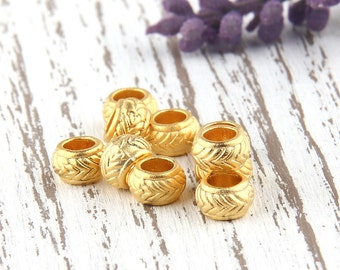 Large Holed Textured Round Bead Spacer, 22k matte gold plated, 10 pcs // GB-175