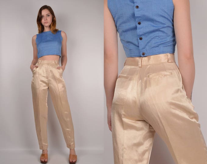 Vintage High Waist Light Gold Trousers