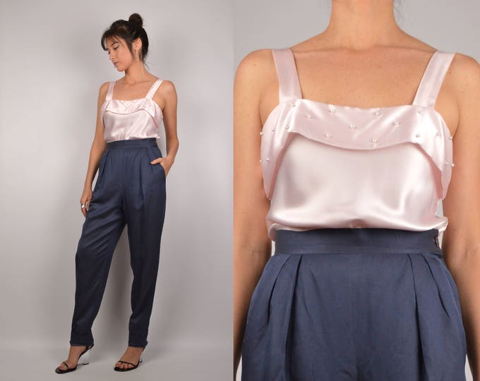 80's Blush Pink Satin Top