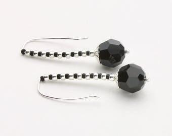 Black Faceted Swarovski Crystal Bead Earrings