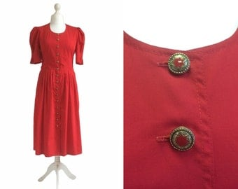 Retro 80's Dress - 1980's Dress - Dusky Tomato Red Vintage Dress - Star Button Dress