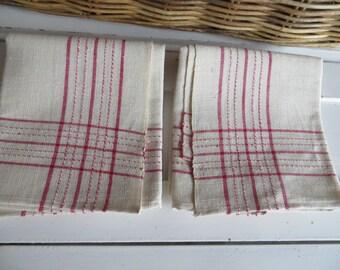 2 Antique Handwoven Linen Towels Red  Stripes Runner Napkin Wrap Bath Cloth Torchon Laundry Bag Denmark Farmland Two