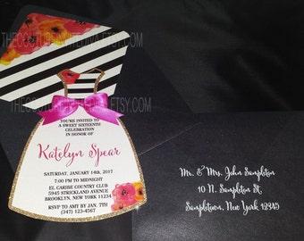 Fashionista Dress Invitation | Black and White Stripe Sweet 16 Dress invite | Gold Glitter | Modern Invitation | Dress Invitation