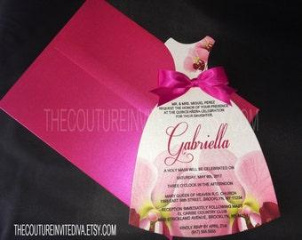 Quinceañeras Dress Invitation, Die Cut Dress Invitation, Orchid Dress Inviation| Sweet 16 | Bat Mitzvah