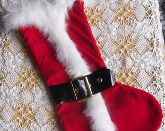 Vintage Christmas Stocking - Santa's Jacket Stocking, Red Velour and White Faux Fur, Black Belt with Brasstone Buckle, Christmas Decor