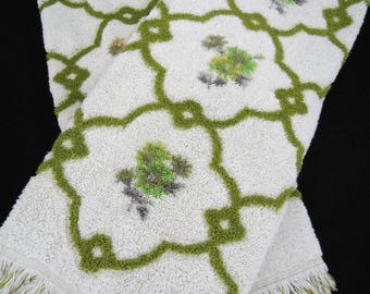 Vintage Bath Towels - Free Shipping - Olive Green Towels - Jacquard - Penney's Fashion Manor Towels - Glamper Glamping Towels -5HTT17