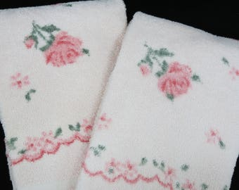 Vintage Bath Towels - Free Shipping - Pink RoseTowels - Sears Harmony House Towels - Glamper Glamping Towels -5HTT17