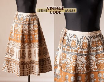 Indian cotton Block print Wrap skirt / Hippie Tribal Festival Cotton Vintage Skirt  / Small to Medium