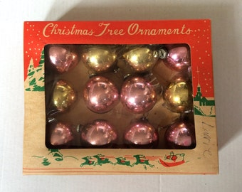 Small Vintage Christmas Ornaments in Orig. Box, Glass Balls, Made in Japan