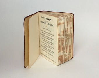 Vintage Midget French-English Dictionary, Red Leather, Printed in Belgium