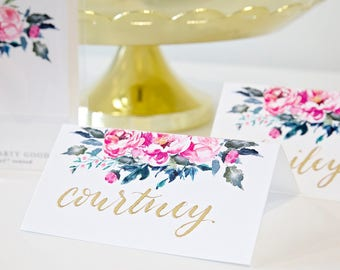 DIY Watercolor floral peony place cards for wedding escort cards - hand letter or calligraphy your own custom place cards - Set of 12 cards