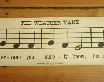 "antique 1905 music score poster ""weathervane"" ""summer lullaby"", 90"" long, school classroom, congdon music rolls"
