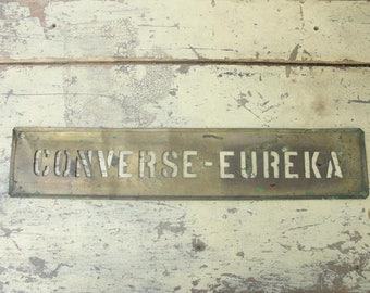 antique brass advertising stencil for sign & wood crate,converse-eureka
