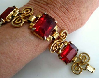 Red Lucite Vintage Bracelet, Faceted Rectangle Large Stones, Deep Cherry Rose, Golden Scroll Curled Links,