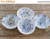 On Sale English Blue Transferware Mismatched Cereal Bowls Set of 4 Staffordshire Bowls, Cottage Style, Vintage English Replacement China