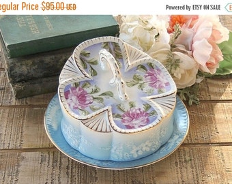 Limoges China Blue Floral Cheese Dish, Cheese Keep, Cottage Style Elegant Table Decor Housewarming Gift
