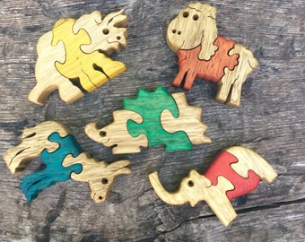 Gift for kids, Wooden toys, Animal games, Wooden puzzles, set of 5, Baby puzzles, jigsaw puzzle, handmade, wood puzzle, wood toy, set #5.