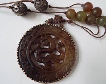 Chinese  brown carved  jade dragon pendant necklace jade beads silk cord silver filigree beads