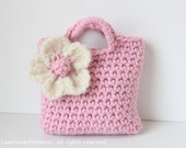 CROCHET PATTERN - Little Girls Pink Purse with large statement flower - Listing57
