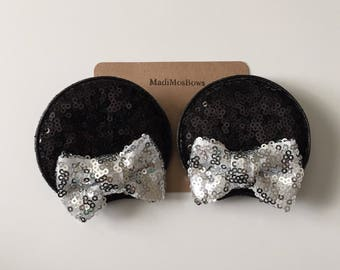 Minnie Mouse Clips in silver and black perfect for pigtails to look like EARs Sequin Ears