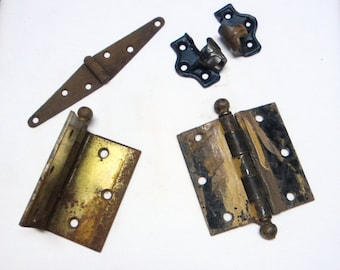 Vintage Antique Door Hinge Lot // Rusty Hinges // Salvaged Hinges
