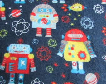 Robot, Large receiving blanket, swaddling blanket, flannel blanket, scientific, space theme,  for a baby boy, reusable gift wrap