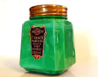 Vintage 1920s Velcrest French Process Peach Tint Tissue Cream Green Slag Glass Cosmetic Jar
