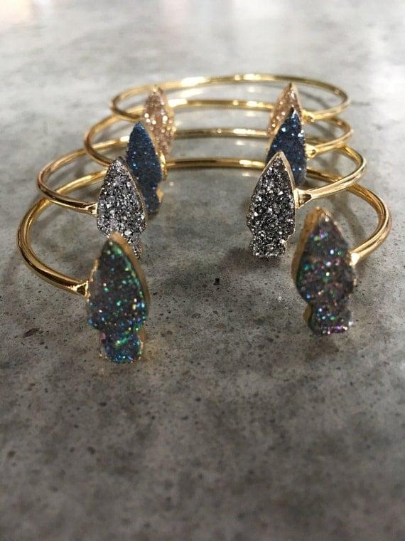 Druzy arrowhead bracelet, boho jewelry