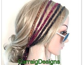 Rasta Womens Gypsy Hairband Hair Wrap Designer dread headband womens teens yoga hand knit crochet rainbow tube wrap hippy hippie boho.