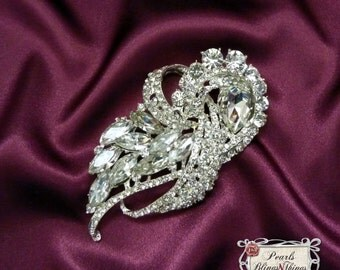 SALE Beautiful Ex-Large Crystal Rhinestone Brooch Brooches SILVER or GOLD Bridal Bouquet Wedding Dress Sash