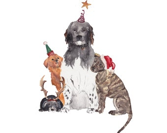 A doggy Christmas pack of 5 holiday cards