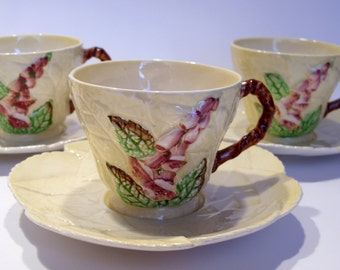 Carlton Ware Foxglove Set of Four Cups and Saucers in Yellow Made in England Australian Design