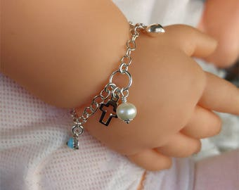 Kids Charm Bracelet With Pearl Cross Heart Evil Eye Sterling Silver Baby Girl Toddler Jewelry First Communion Baptism Gift For Child