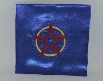 "RTS BlueHandmade Altar Cloth 27"" x 24"" Pentacle  wiccan celtic wicca pagan  ritual ready to ship altar tools"