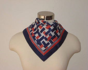 Square Geometric Pattern Scarf - Red and Navy Blue  - Womens Accessories