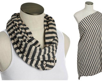 SALE Nursing Scarf /  Gray and Tan Stripes Hold Me Close Nursing Scarf / SALE / Finished Edge, Nursing Cover, Infinity Scarf,