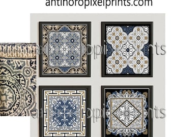 Art Black Blue Tan White Grey Teal Moroccan Bone Inley Style Wall Art Print  Collection