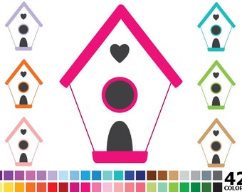 70% OFF SALE Rainbow Bird House Clipart - Digital Vector Colorful Bird House, Birdhouse Clip Art