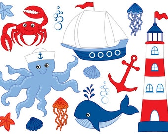 70% OFF SALE Nautical Clipart - Digital Vector Octopus, Crab, Sea, Whale, Boat, Nautical Clip Art