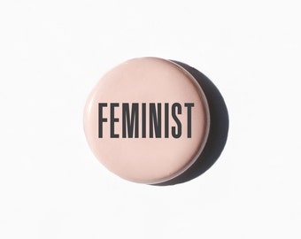 Feminist Button | Feminist Pin | Feminist Flair | Feminism | Pink vintage Style Button Pin | Set of 3