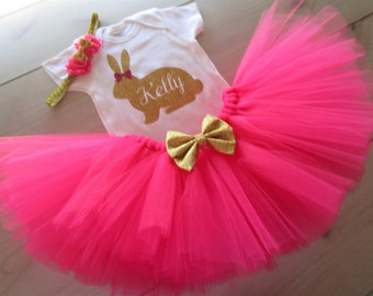 Personalized Baby Girls EASTER Outfit/ Easter Bunny Tutu Outfit/Hot Pink and Gold Theme