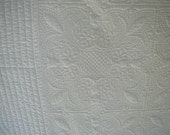 """RESERVED FOR SUSAN Vintage White Quilt-Bedspread, 1 st of 2 Payments Heavily Quilted, 94 x 95"""" Queen Bed Size, Scalloped Edges,  100% Cotton"""