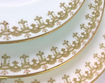Vintage 7 Porcelain Luncheon Plates Japanese Bone China Green & Cream White with Delicate Gold Trim Porcelain Plates Wedding Holiday Table